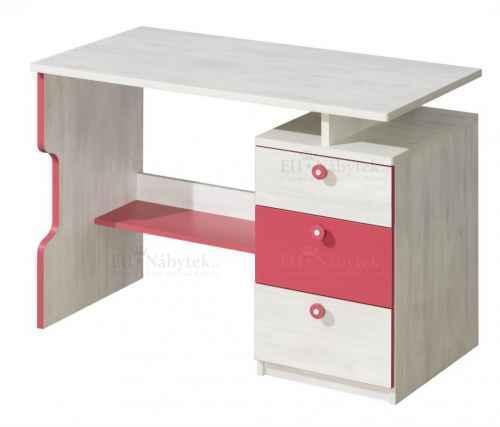 Psací stůl MAKI NU7 červená - dol-borovice-nor-červená