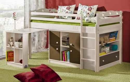 Dětská postel KAMIL vyvýšená - dol moření ořech