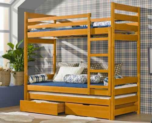 Dětská postel FILIP poschoďová s přistýlkou - dol borovice natural