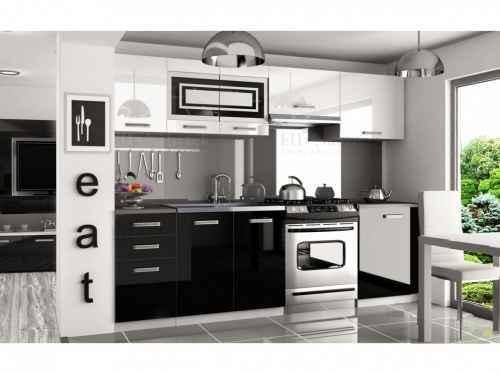 Kuchyňská linka TIFFANY 240 bílo-černá lesk