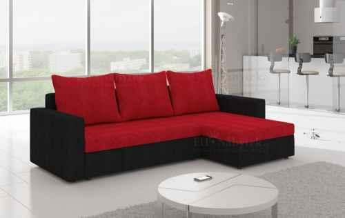 Rozkládací rohová sedačka OLIVIO černá / červená