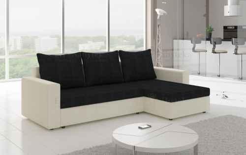 Rozkládací rohová sedačka OLIVIO bílá / černá