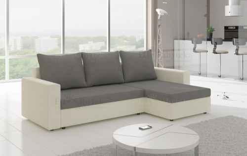 Rozkládací rohová sedačka OLIVIO bílá / šedá