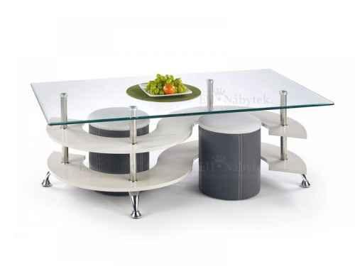 Konferenční stolek s taburety NINA 5 šedá / tmavě šedá