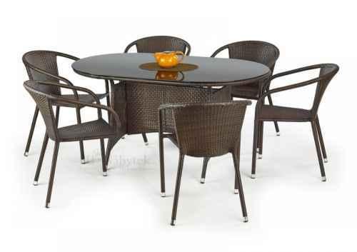 Zahradní stůl MASTER ratan černá / tmavě hnědá
