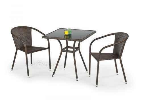 Zahradní stůl MOBIL ratan černá / tmavě hnědá