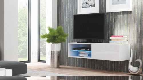 RTV stolek LIVO 120 závěsný bílá lesk