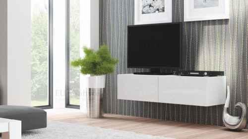 RTV stolek LIVO 160 závěsný bílá lesk