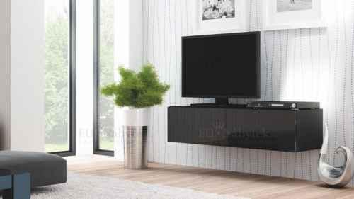 RTV stolek LIVO 160 závěsný černá lesk