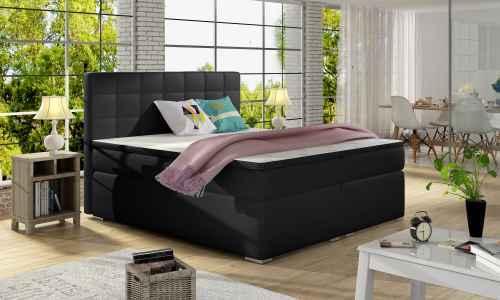 Kontinentální postel Boxspring LUCIE černá ekokůže 180x200cm