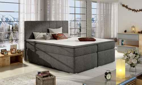 Kontinentální postel Boxspring MARIO tmavě šedá 180x200cm