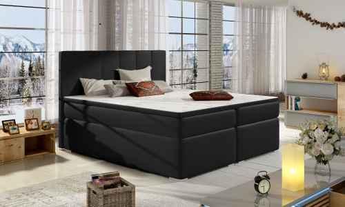 Kontinentální postel Boxspring MARIO černá ekokůže 180x200cm