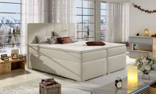 Kontinentální postel Boxspring MARIO béžová ekokůže 180x200cm