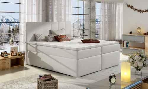 Kontinentální postel Boxspring MARIO bílá ekokůže 180x200cm