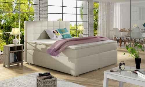 Kontinentální postel Boxspring LUCIE béžová ekokůže 160x200cm