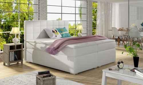 Kontinentální postel Boxspring LUCIE bílá ekokůže 160x200cm