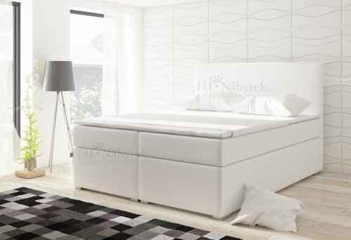 Kontinentální postel Boxspring DIANA bílá ekokůže 160x200cm