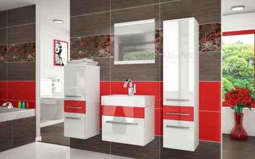 Koupelnová sestava RIOR PRO+ bílá / červená lesk