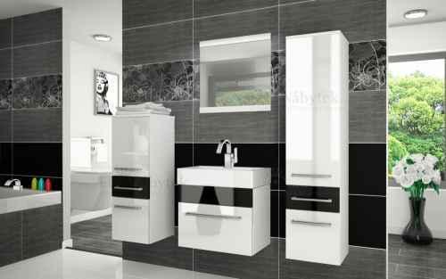 Koupelnová sestava RIOR PRO+ bílá / černý lesk