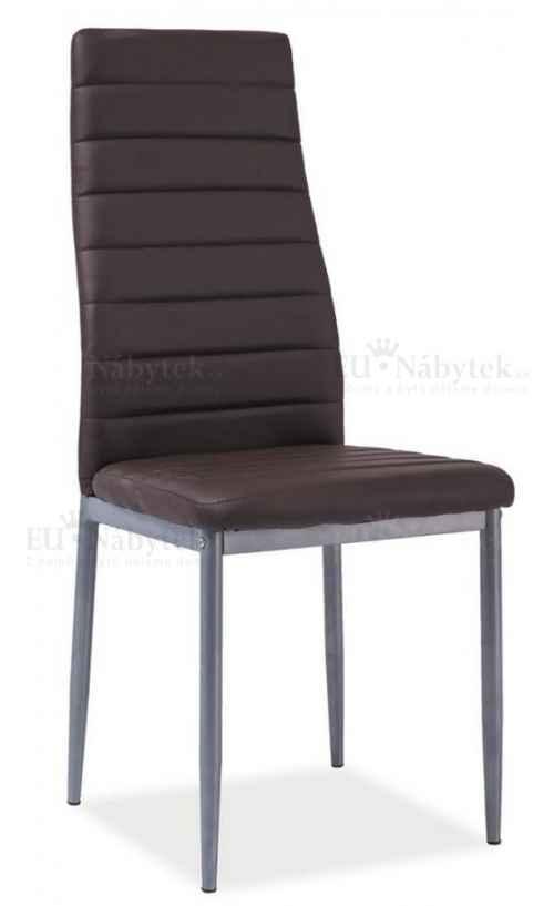 Jídelní čalouněná židle H-261 Bis hnědá/alu DOPRODEJ