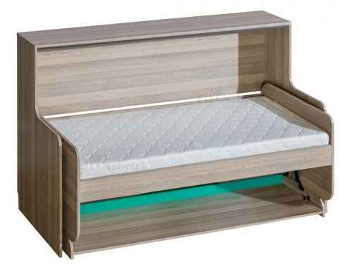 Kombinovaná sklápěcí postel ULTTIMO U16 - dol-jasan-combria-tmavy-a-oranzova