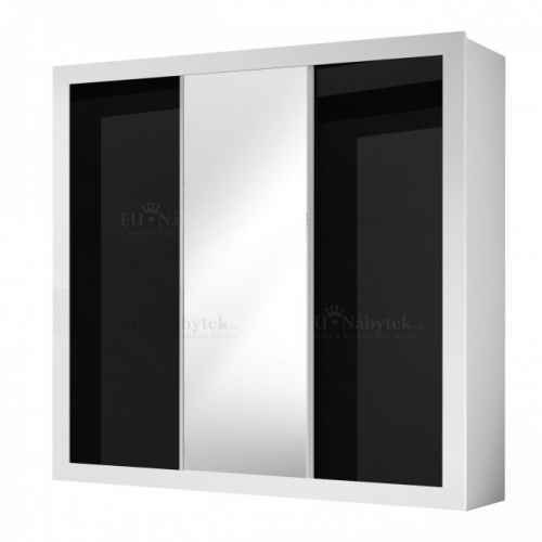 Šatní skříň LUCKA bílá / černý lesk