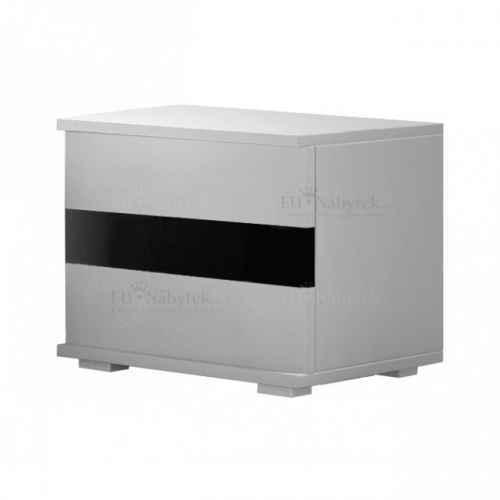 Noční stolek LUCKA bílá / černý lesk