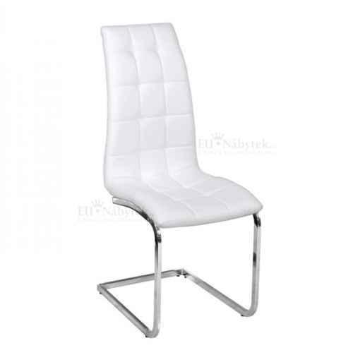 Jídelní židle, ekokůže bílá / chrom, DULCIA