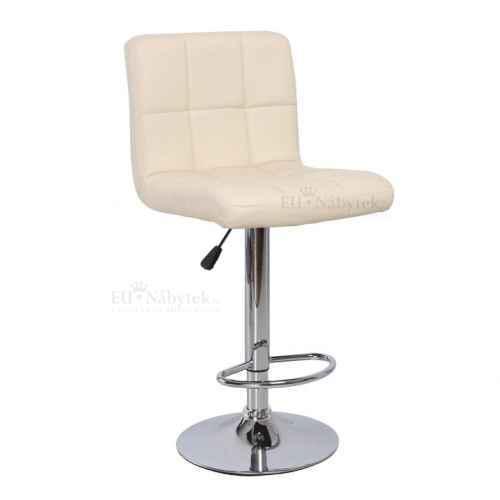 Barová židle, béžová ekokůže / chrom, KANDY