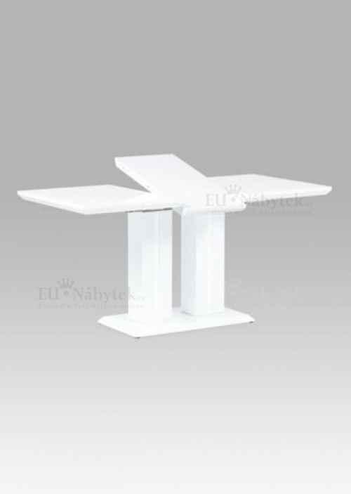 Jídelní stůl 120+40x80x76 cm, vysoký lesk bílý