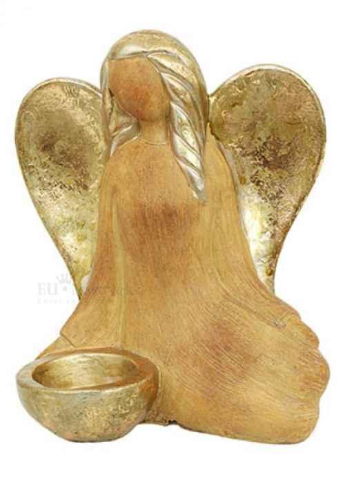 Anděl svícen, barva bronzová, polyresin