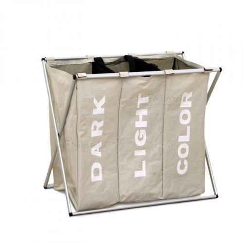 Látkový koš na prádlo, šedobéžová, LAUNDRY TYP 3