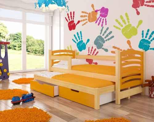 Dětská výsuvná postel VILLA oranžová