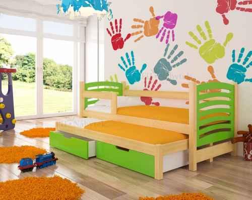 Dětská výsuvná postel VILLA zelená
