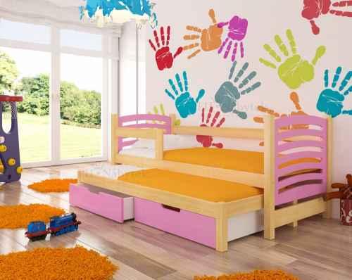 Dětská výsuvná postel VILLA růžová