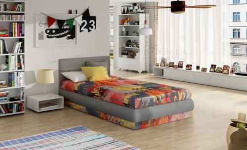 Dětská postel KIRI s polohovacím roštem červená