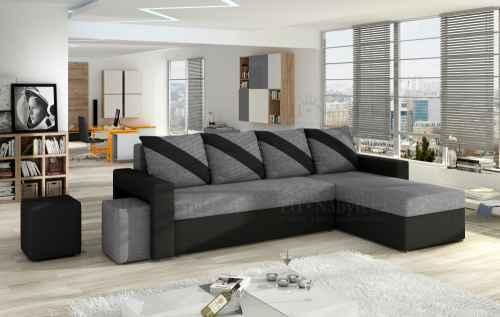 Rozkládací rohová sedačka TORNADO černá / šedá + TABURETY