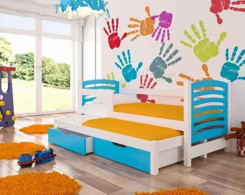 Dětská výsuvná postel VILLA modrá / bílá