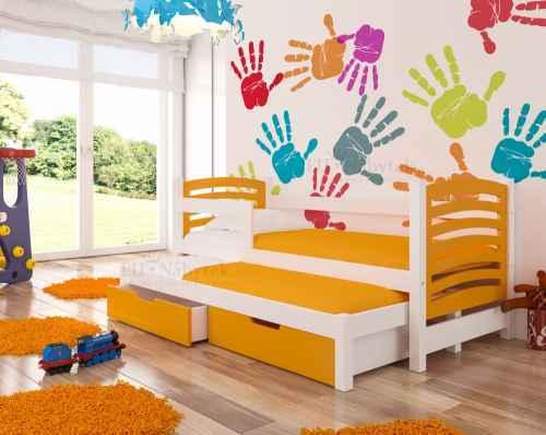 Dětská výsuvná postel VILLA oranžová / bílá