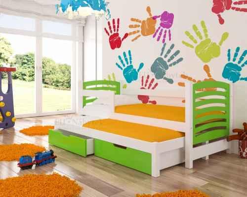 Dětská výsuvná postel VILLA zelená / bílá