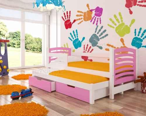 Dětská výsuvná postel VILLA růžová / bílá