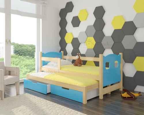 Dětská výsuvná postel CAMP modrá