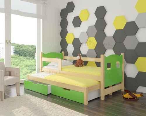 Dětská výsuvná postel CAMP zelená