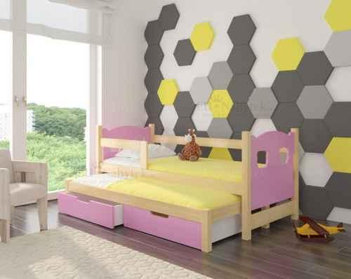 Dětská výsuvná postel CAMP růžová