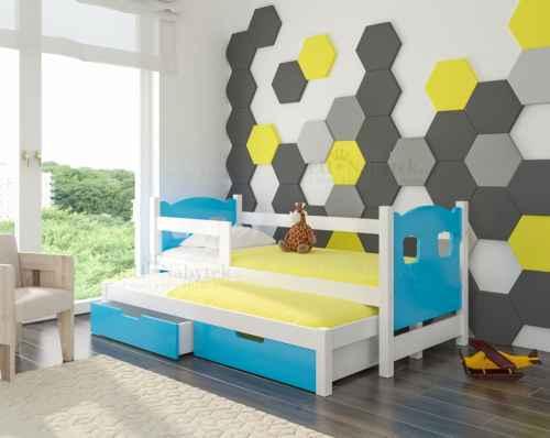 Dětská výsuvná postel CAMP modrá / bílá