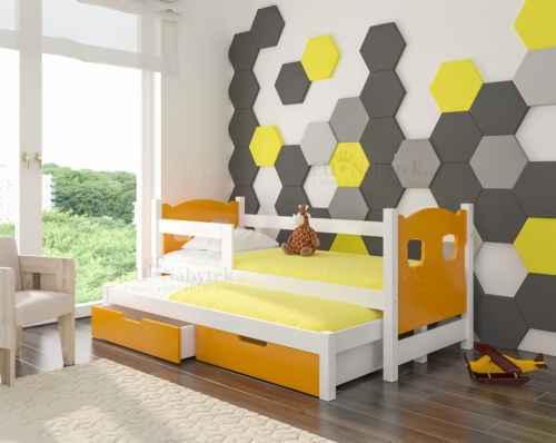 Dětská výsuvná postel CAMP oranžová / bílá