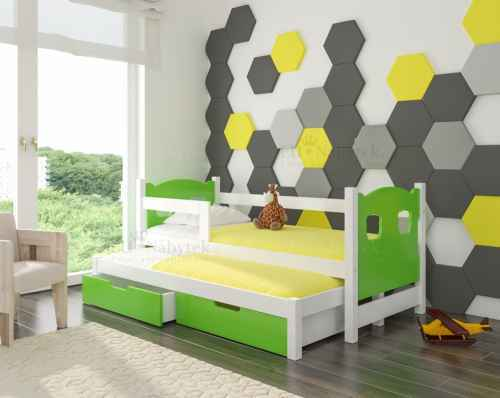 Dětská výsuvná postel CAMP zelená / bílá