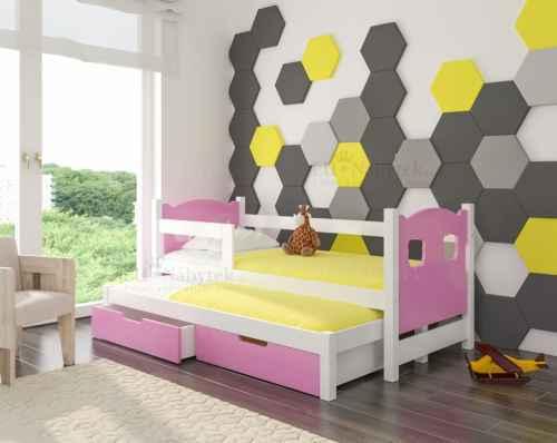 Dětská výsuvná postel CAMP růžová / bílá
