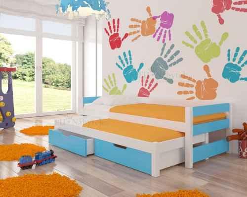 Dětská výsuvná postel RAGA modrá / bílá