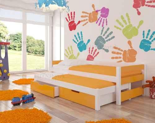Dětská výsuvná postel RAGA oranžová / bílá
